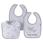 Gerber® 3-Pack  I Love Mommy  Lamb Bibs in Grey