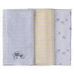 Gerber® 3-Pack Lamb Knit Burp Cloths in Grey/Yellow