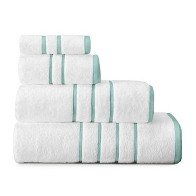 American Craft Made In The USA Bath Sheet In White/Aqua