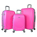 Travelers Club® Barnet 3-Piece Dual-Wheeled Expandable Spinner Suitcase Set in Neon Pink