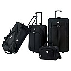 Travelers Club® Genova 4-Piece Wheeled Luggage Set in Black