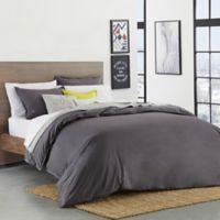 Lacoste Solid Castlerock Twin/Twin XL Duvet Cover Set in Dark Grey