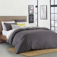 Lacoste Solid Castlerock King Duvet Cover Set in Dark Grey