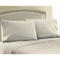 330-Thread-Count Cotton Sateen Twin XL Sheet Set in Gold Chevron