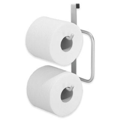 interdesign overthetank double toilet paper roll holder in silver
