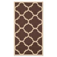 Safavieh Courtyard Geometric 2-Foot 7-Inch x 5-Foot Indoor/Outdoor Accent Rug in Dark Brown