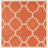 Safavieh Courtyard Geometric 4-Foot Square Indoor/Outdoor Accent Rug in Terracotta