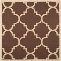 Safavieh Courtyard Geometric 4-Foot Square Indoor/Outdoor Rug in Dark Brown