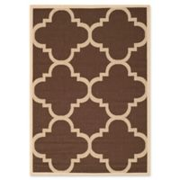 Safavieh Courtyard Geometric 4-Foot x 5-Foot 7-Inch Indoor/Outdoor Area Rug in Dark Brown
