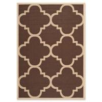 Safavieh Courtyard Geometric 5-Foot 3-Inch x 7-Foot 7-Inch Indoor/Outdoor Area Rug in Dark Brown