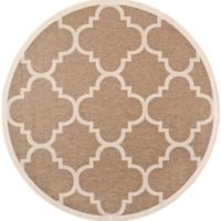 Safavieh Courtyard Geometric 8-Foot Round Indoor/Outdoor Area Rug in Brown