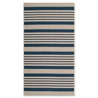 Safavieh Courtyard Stripes 2-Foot x 3-Foot 7-Inch Indoor/Outdoor Accent Rug in Navy/Beige