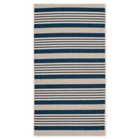 Safavieh Courtyard Stripes 2-Foot 7-Inch x 5-Foot Indoor/Outdoor Accent Rug in Navy/Beige