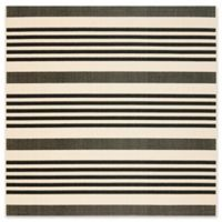 Safavieh Courtyard Stripes 4-Foot Square Indoor/Outdoor Accent Rug in Black/Bone
