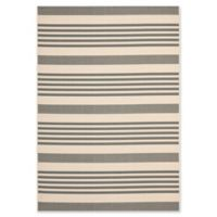 Safavieh Courtyard Stripes 4-Foot x 5-Foot 7-Inch Indoor/Outdoor Area Rug in Grey/Bone