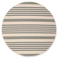 Safavieh Courtyard Stripes 5-Foot 3-Inch Round Indoor/Outdoor Area Rug in Grey/Bone