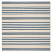 Safavieh Courtyard Stripes 5-Foot 3-Inch Square Indoor/Outdoor Area Rug in Blue/Beige