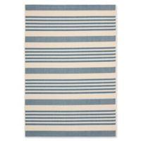 Safavieh Courtyard Stripes 5-Foot 3-Inch x 7-Foot 7-Inch Indoor/Outdoor Area Rug in Blue Beige