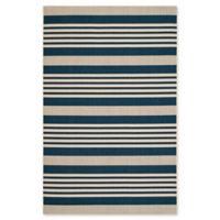Safavieh Courtyard Stripes 5-Foot 3-Inch x 7-Foot 7-Inch Indoor/Outdoor Area Rug in Navy/Beige