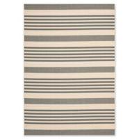 Safavieh Courtyard Stripes 5-Foot 3-Inch x 7-Foot 7-nch Indoor/Outdoor Rug in Grey/Bone