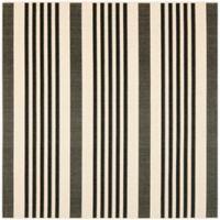 Safavieh Courtyard Stripes 5-Foot 3-Inch Square Indoor/Outdoor Area Rug in Black/Bone