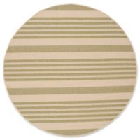 Safavieh Courtyard Stripes 5-Foot Round Indoor/Outdoor Area Rug in Light Green/Beige