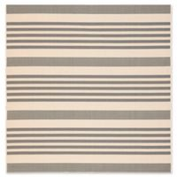 Safavieh Courtyard Stripes 4-Foot Square Indoor/Outdoor Accent Rug in Grey/Bone