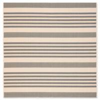 Safavieh Courtyard Stripes 5-Foot 3-Inch Square Indoor/Outdoor Area Rug in Grey/Bone