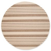 Safavieh Courtyard Stripes 8-Foot Round Indoor/Outdoor Area Rug in Brown/Bone
