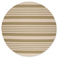Safavieh Courtyard Stripes 8-Foot Round Indoor/Outdoor Area Rug in Green/Beige