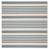 Safavieh Courtyard Stripes 6-Foot 7-Inch Square Indoor/Outdoor Area Rug in Blue/Beige