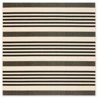 Safavieh Courtyard Stripes 6-Foot 7-Inch Square Indoor/Outdoor Area Rug in Black/Bone