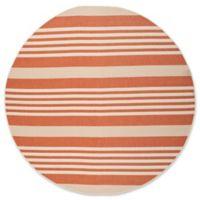 Safavieh Courtyard Stripes 8-Foot Round Indoor/Outdoor Area Rug in Terracotta/Beige