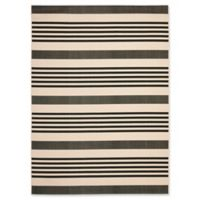 Safavieh Courtyard Stripes 9-Foot x 12-Foot Indoor/Outdoor Area Rug in Black/Bone