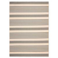 Safavieh Courtyard Stripes 9-Foot x 12-Foot Indoor/Outdoor Area Rug in Grey/Bone