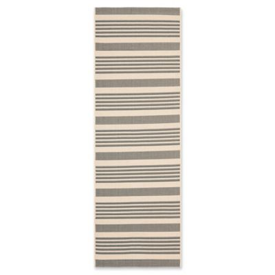 Safavieh Courtyard Stripes 10 Foot Round Indoor/Outdoor Area Rug In  Grey/Bone