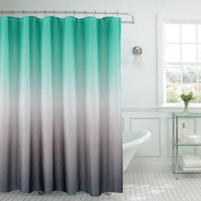 Ombre Waffle Shower Curtain In Turquoise/Grey