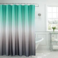 Ombre Waffle Shower Curtain In Turquoise Grey