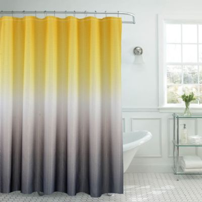 Ombre Waffle Shower Curtain In Yellow Grey