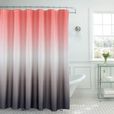 Ombre Waffle Shower Curtain In Coral Grey