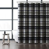 VCNY Home Madison Stripe Shower Curtain in Grey/Black