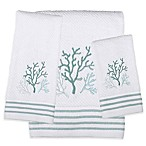 Saturday Knight Coral Reef Hand Towel in White