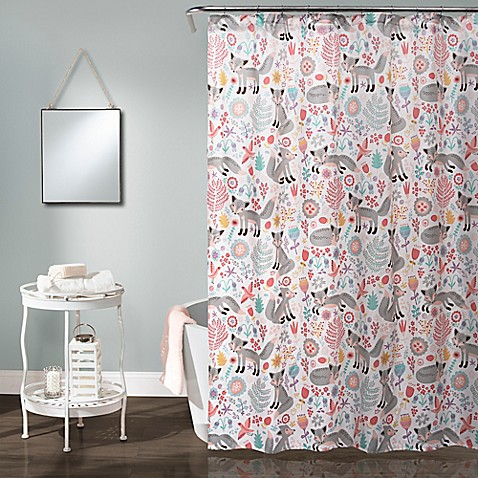 Pixie Fox Shower Curtain In Grey Pink Bed Bath Amp Beyond