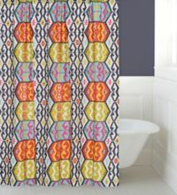 Levtex Home Moesha Shower Curtain in Navy/Red
