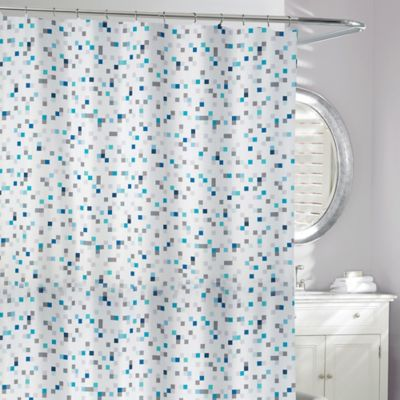 Tuttio Geometric Shower Curtain In Blue Grey