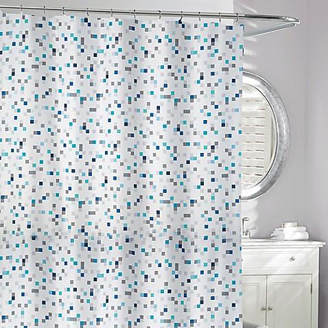 Tuttio Geometric Shower Curtain In Blue Grey Bed Bath