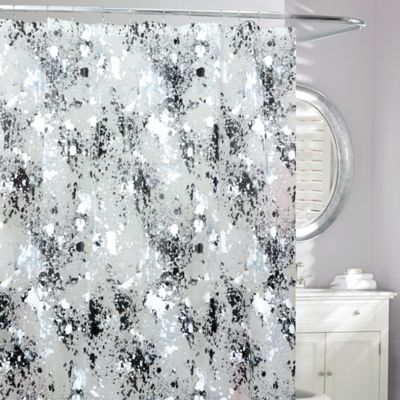 Storm Frosted Shower Curtain in Black White Buy and Fabric Curtains from Bed Bath  Beyond