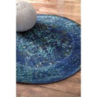 nuLOOM Vintage Reiko 5-Foot Round Area Rug in Blue