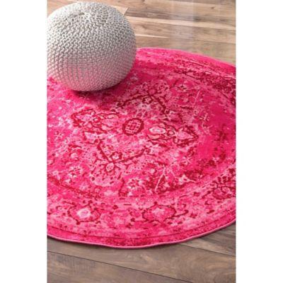 round pink rug. NuLOOM Vintage Reiko 5-Foot Round Area Rug In Pink N