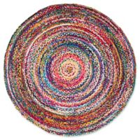 nuLOOM Nomad Hand-Braided Tammara 6-Foot Round Multicolor Area Rug